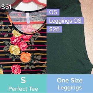 LuLaRoe S Floral Perfect T OS Green Leggings